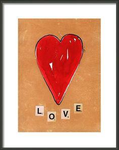 Original Heart Painting Collage  Mixmedia Heart  by evartstudio