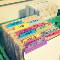 Organization - Sticker organization - subjects/dividers. Going  to do this with Pinterest recipes and DIY