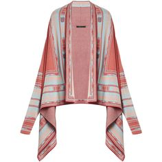 BCBGMAXAZRIA Vicci Jacquard Cardigan Wrap ($161) ❤ liked on Polyvore featuring tops, cardigans, red cardigan, ombre cardigan, print top, bcbgmaxazria and wrap top