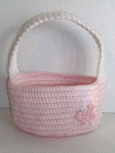 Crochet easter gift basket hand made in usa light peachy variegated crochet easter gift basket hand made in usa pink white 95 by 7 negle Choice Image