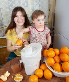 Buy mother and daughter making orange juice by JackF on PhotoDune. mother and daughter making fresh orange juice in home kitchen Citrus Juicer, Orange Juice, Daughter, Author, Child, Vegetables, Search, How To Make, Food