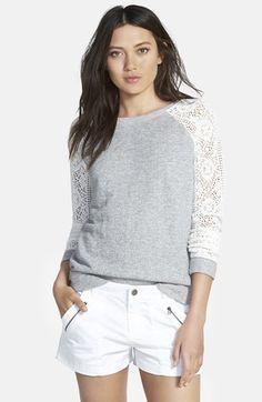 Hinge+Lace+Sleeve+Sweatshirt+available+at+#Nordstrom