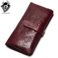 Promo $13.61, Buy Women Dark Red Color Wallet 100% Top Genuine Oil Wax Cowhide Leather Long Bifold Wallets Purse Vintage Designer Coin Purse