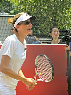 Tennis great Monica Seles at an exhibition at Madison Square Park, New York City. June 25, 2013.