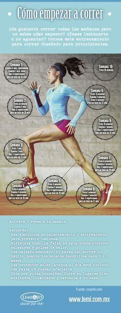 Infografía: Comienza a #correr, una #guía para #principiantes.  #fitness y #salud