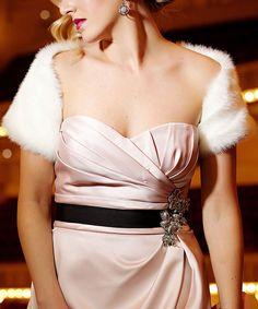 Donna Salyers' Fabulous-Furs Winter White Faux Mink Shrug