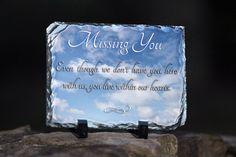 """Rectangle Sedimentary Rock Slate (5.85"""" x 7.8"""". 3/8"""") Machined sublimation coated slate with natural edging. Comes with black plastic """"feet"""". Slate can vary in size by up to -0.4"""". Makes great gifts & keepsakes too!    Sentimental Keepsake Rock Slate Photo Missing You Sympathy Souvenir Gift"""