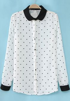 Shop White Contrast Lapel Long Sleeve Polka dots blause online. Sheinside offers White Contrast Lapel Long Sleeve Polka dots blause & more to fit your fashionable needs. Free Shipping Worldwide!