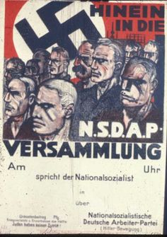 """1930 German poster was produced for local groups to use in advertising their meetings. The caption: """"Come to the NSDAP Meeting"""" with a field to fill in the date, time and speaker. At the bottom stands: """"Jews not admitted!"""""""