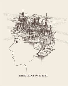 INTJ Print Female Phrenology MBTI Myers Briggs Jung Jungian Intuition Introvert Psychology and Psychiatry Ink
