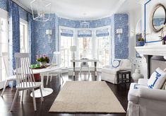 Dining Room/Living Room in Quadrille Arbre De Matisse Reverse Drapes, Roman Shade and matching Wallpaper in China Blue (Griffin Design Source) Matisse, Interior Design Magazine, Interior Design Inspiration, Design Ideas, Interior Ideas, Room Inspiration, Living Room Drapes, Colourful Living Room, Enchanted Home