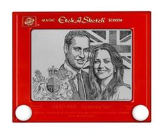 One-of-a-kind William and Kate Royal Wedding Etch A Sketch print by George Vlosich III.    Celebrate and mark this historic event with a piece of artwork that no one else in the world can create. This is the most unique and original gift to mark an event that is as rare as the artwork.  A one-of-a-kind piece created by the world's best Etch A Sketch artist George Vlosich III.