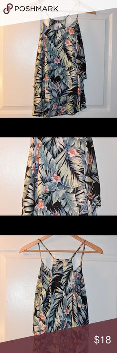 Tropical tank blouse This tank is made of a blousy material and is super light. Never worn. Women's small. Straps are not adjustable. Has a tiered design. Francesca's Collections Tops Blouses