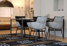 Husk diningchair by B&B Italia. Table Slim by Arco and karpet Tweed by Kasthall.