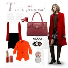 Geanta din piele naturala OXANA Autumn, Polyvore, Red, Image, Collection, Fashion, Moda, Fall Season, Fashion Styles