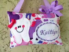 Tooth Fairy Pillow Unicorns Michael Miller Print purple and pink