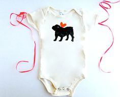English Bulldog Baby Bodysuit Organic Infant Romper, Bull Dog % to ANIMAL RESCUE One Piece Unisex Red Heart Gift Wrapped Mom 3-6 mo, 6-12 mo