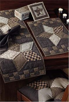 """Farmhouse Star Placemat Quilted set of 2 12x18"""""""