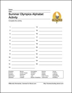 Summer Olympics AlphabetActivity  -  Pinned by @PediaStaff – Please Visit http://ht.ly/63sNt for all our pediatric therapy pins