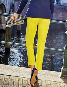 World: meet ankles. Legs: meet a seriously improved fit (and fabulously bright colours)! These stylish ankle-skimmer trousers are a smart alternative to jeans, perfect for teaming with a button-down chambray shirt during the week or a longline tunic come the weekend. Made from a cotton-elastane blend, they've got just the right amount of stretch for all-day comfort.