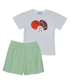 Loving this White Sports Tee & Green Shorts - Boys on #zulily! #zulilyfinds