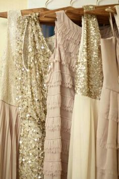 I love the idea of add a little glamour and complementary shades with these sparkly Bridesmaids Dresses :) Sparkly Bridesmaid Dress, Bridesmaid Flowers, Wedding Bridesmaids, Sparkly Dresses, Pastel Outfit, Gold Wedding, Dream Wedding, Wedding Bells, Wedding Attire