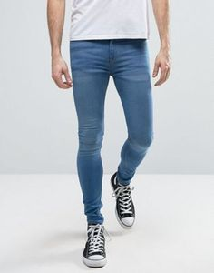 New Look Extreme Super Skinny Jeans In Light Wash Blue