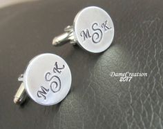 Monogram Cufflinks - Monogram Cuff Links - Groom Cufflinks - Wedding Cuff Links - Personalized Cufflinks - Initial Cufflinks by DameCreation on Etsy