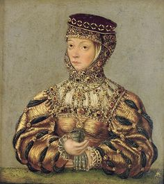 German Style, 1468-1588, Barbara Radziwill by Lucas Cranach the Younger,1565 I am fascinated by this beautiful gown and headdress!
