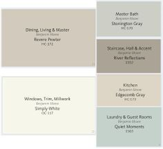 Interior Paint Colors for our Home. Benjamin Moore favorites!