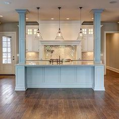 kitchen island re-do with pillars … | kitchen island with bearing ...