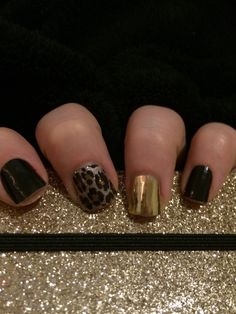 Jamberry nails manicure Jamicure black gold leopard easy fast