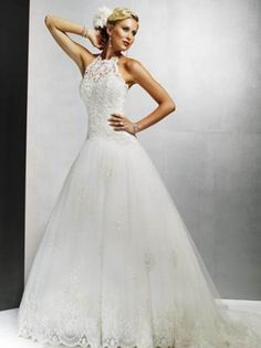 2012 Style A-line High Neck  Beading  Sleeveless Sweep / Brush Train Lace  Wedding Dresses For Brideses