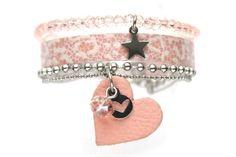 Armband leer, set van 3, Vintage Roze  www.sazou.nl