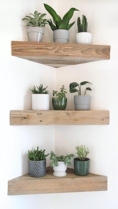 Reclaimed Wood Shelves, Wood Floating Shelves, Hanging Wood Shelves, Rustic Wooden Shelves, Shelves In Bedroom, Shelves For Wall, Shelves With Plants, Decorative Wall Shelves, Small Wall Shelf