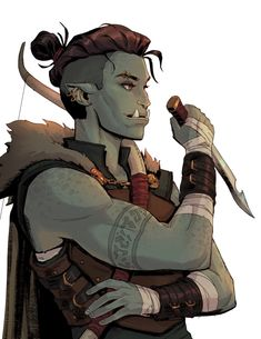 Half-orc rogue (first ever dnd character) Male Character, Fantasy Character Design, Character Portraits, Character Creation, Character Design Inspiration, Character Concept, Dungeons And Dragons Characters, Dnd Characters, Fantasy Characters