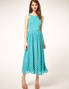 Shop ASOS Midi Spot Dress with Tie Shoulder. With a variety of delivery, payment and return options available, shopping with ASOS is easy and secure. Shop with ASOS today. Cute Summer Dresses, Pretty Dresses, Fashion Clothes Online, Fashion Dresses, Modest Fashion, Retro Fashion, Womens Fashion, Fashion Trends, Bridesmaid Dresses