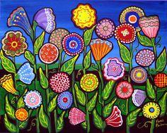 whimsical art | Fun Whimsical Flowers Art Prints by Renie Britenbucher - Shop Canvas ...