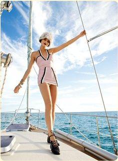 The Lady Eve: Brainy Californian meets French Chic The Lady Eve, Vintage Swimsuits, Bikinis, Swimwear, Beachwear, French Chic, Nautical Fashion, Sailboat, Retro