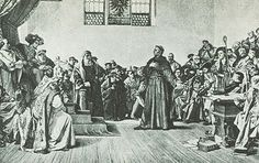 """""""Luther Before the Diet of Worms."""" Photogravure based on the painting by Anton von Werner (1843–1915) - The enforcement of the ban on the 95 Theses fell to the secular authorities.On 18 April 1521,Luther appeared as ordered before the Diet of Worms.This was a general assembly of the estates of the Holy Roman Empire that took place in Worms,a town on the Rhine.It was conducted from 28 January to 25 May 1521,with Emperor Charles V presiding."""