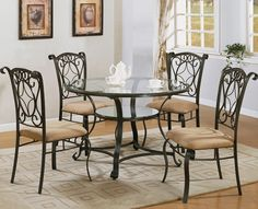 Glass And Wrought Iron Table And Chairs Pier 1 Dining