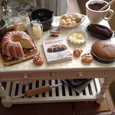 I love to bake mini baking table 1:12 by It's a miniature life...is playing with clay, via Flickr