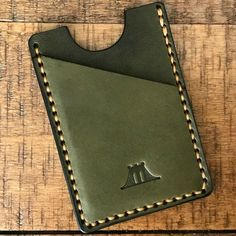"""Wallet: """"The Fort Hamilton""""- Olive Minimalist Leather Wallet, Slim Leather Wallet, Handmade Leather Wallet, Leather Gifts, Leather Keychain, Leather Purses, Leather Shoulder Bag, Leather Wallets, Shoulder Bags"""
