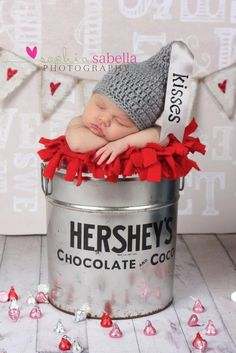 Newborn Crochet HERSHEY KISS Hat Photography Prop. $18.00, via Etsy.