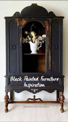 Recycled Furniture, Diy Furniture, Shabby Chic Furniture, Furniture Makeover, Old World Furniture, Country Furniture, Painting Furniture, Black Painted Furniture, Reupholster Furniture