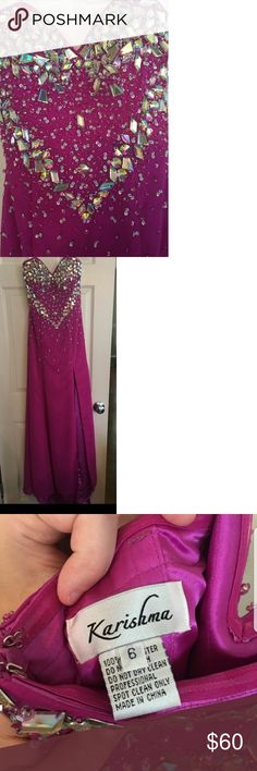 Formal dress size 6 Violet formal dress size 6. Sweetheart neckline. Slit high leg. Great condition. No stains or holes. Worn once. Smoke free. David's Bridal Dresses