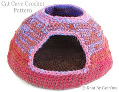 15+ #Crochet Patterns for Animals - Crochet cat cave pattern for sale from @knotbygranma