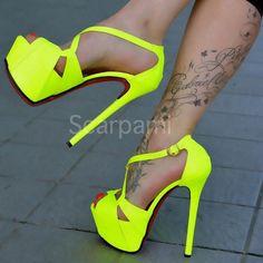 Fluorescent Yellow Sandals