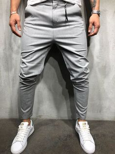 To find out about the Men's Fashion Simple Pure Colour Casual Pants at Yatacity, part of our latest pants ready to shop online today! Style Streetwear, Ankle Pants, Trouser Pants, Cargo Pants, Men Pants, Costumes Gris Clair, Men Street, Street Wear, Stylish Clothes