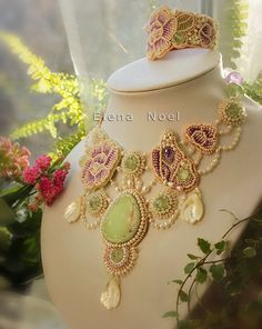 "Necklace ""Butterfly in the rose garden"" Necklace Bead Embroidery Art"